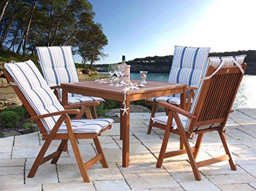 Gartenmöbel 9tlg mit 90cm Tisch Balkonmöbel Santos Marine