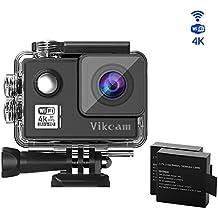 Vikcam Real 4K/30fps Cámara de acción WiFi HD Action Cam 14MP con estabilización de imagen, 170 grados de gran angular, 2 baterías mejoradas y kit de accesorios de montaje