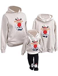 YaoDgFa Ugly Weihnachts Pullover Sweatshirt Weihnachten Xmas Sweater Kapuzenpullover Familie Bekleidung Damen Herren Kinder Weihnachtsmann Schneemann mit Rentier