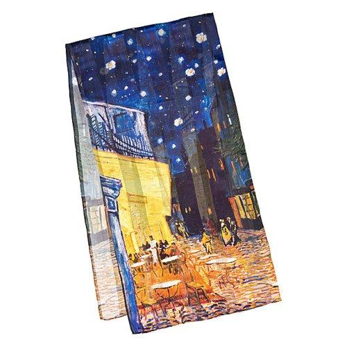 Foto-impressionismus (VON LILIENFELD Seidenschal LUXUS Mode Damen Satin lang (172 x 42 cm) aus 100 % Seide Kunst-Motiv Vincent van Gogh: Nachtcafé)