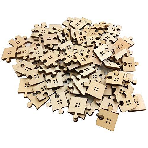 0Stück Holz Knöpfe Puzzle Nähen Basteln DIY Scrapbook Ornament Zubehör ()