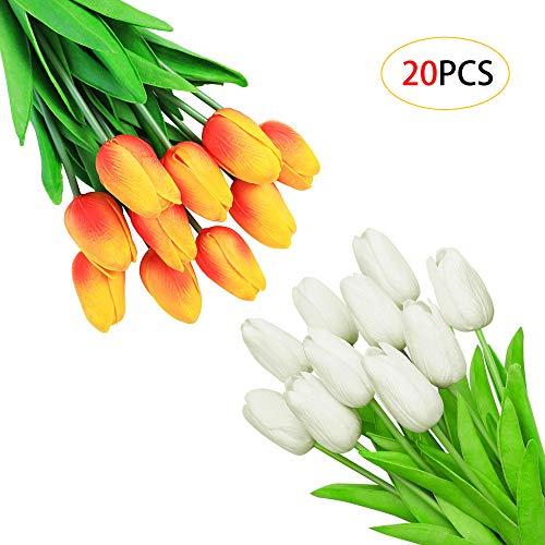 Caili fiori artificiali, tulipani artificiali,bouquet finto tulipano,bouquet da sposa, per matrimonio, casa, giardino, decorazione(bianco 10pcs + tramonto rosso 10pcs)