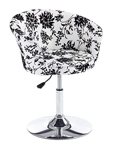 Ts-ideen poltroncina sedia da bar stile lounge club motivo floreale con poggiapiedi cromato girevole a 360° e sedile in similpelle