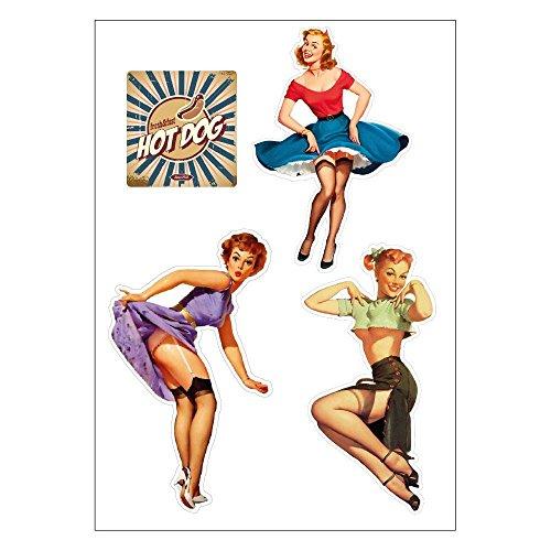 Aufkleber Pinup (E31 Retro-Aufkleber 50er-Jahre, Pin-up-Girls, A4-Bogen)