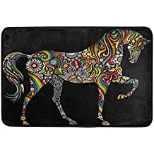 Klotr Felpudos, Anti Slip Welcome Door Mat Rainbow Horse Washable Entrance Doormat Indoor Outdoor for