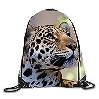 ERCGY Animal Jaguar Cats Large Drawstring Bag Gym Sackpack