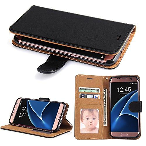 Galleria fotografica Cover Galaxy S7 Edge, SOWOKO Custodia Portafoglio in Pelle con Chiusura Magnetica/ Supporto/ Porta Carte per Samsung Galaxy S7 Edge, Nero