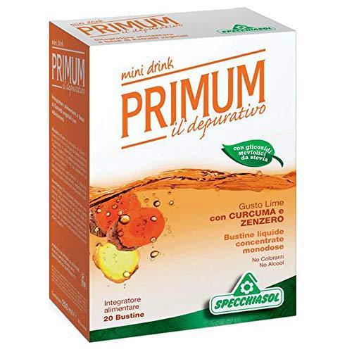 Specchiasol - Primum Dren Depurativo Mini Drink - Gusto CURCUMA e ZENZERO - 20 Bustine da 10 ml | Drenaggio, depurazione, cellulite, ritenzione idrica