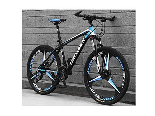 Mountainbike 26-Zoll-Integralrad Unisex-Federung Mountainbike 21-Gang 24-Gang 27-Gang 30-Gang Student Mit Doppelscheibenbremse Aus Kohlenstoffstahl,Schwarz Blau,30 Geschwindigk