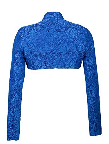 GIOVANI rICCHI design élégant exclusif & satin veste boléro à manches longues pour femme en cuir plusieurs couleurs Bleu