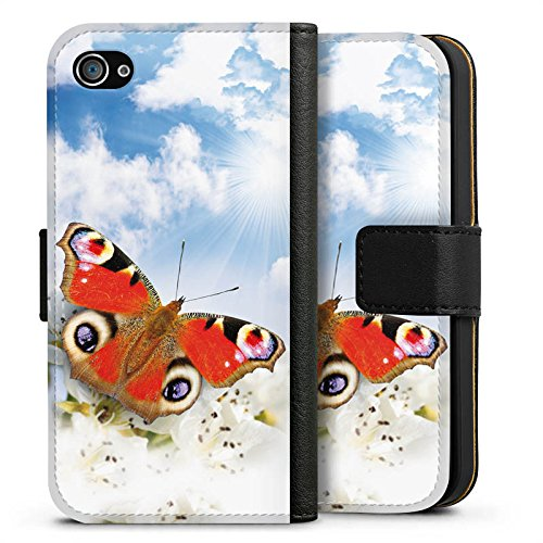 Apple iPhone X Silikon Hülle Case Schutzhülle Schmetterling Blumen Sonne Himmel Wolken Sideflip Tasche schwarz