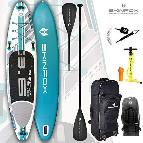 SKINFOX Whale aufblasbares 4-lagiges Inflatable SUP Paddelboard Stand Up NEUSTE SUP Generation 4 TECH L-CORE (365x82x15/Tragkraft <200 kg) ALU-Set türkis (Board,Bag,Pumpe,ALU SUP-/Kayak Paddel,Leash)