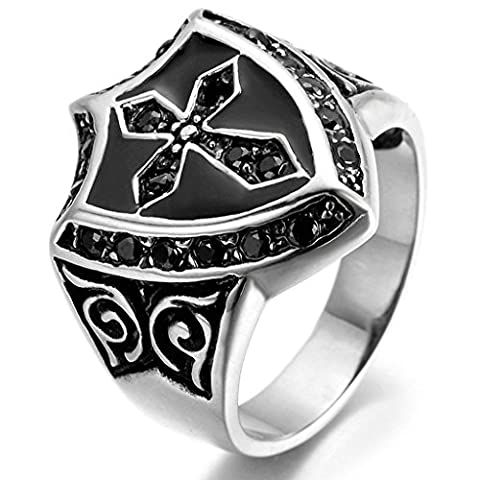 KnSam Men Stainless Steel Band Rings Cross Shield Comfort Fit Black Silver Size X 1/2 [Novelty Ring]