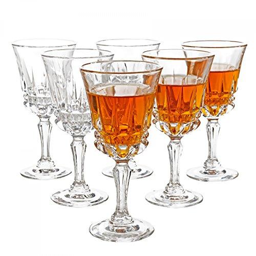 Luminarc 6er Set Barock-Gläser Imperator, 6 cl, 60 ml, Likörgläser, geschliffenes Kristallglas, königliches Schnaps-Glas auf hohem Fuß, shot glas
