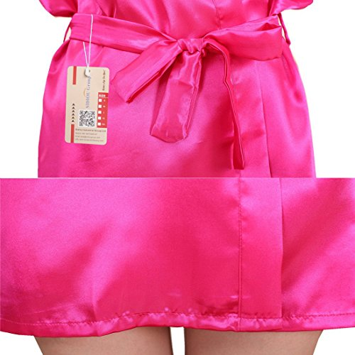 SiDiOU Group Vestaglia Kimono Donna Elegante Pigiama Vestaglia Raso Corta Camicie da Notte per Donna Accappatoio Biancheria da Notte Abito da Notte Indumenti da Notte Stile 2-Rosa Rosso