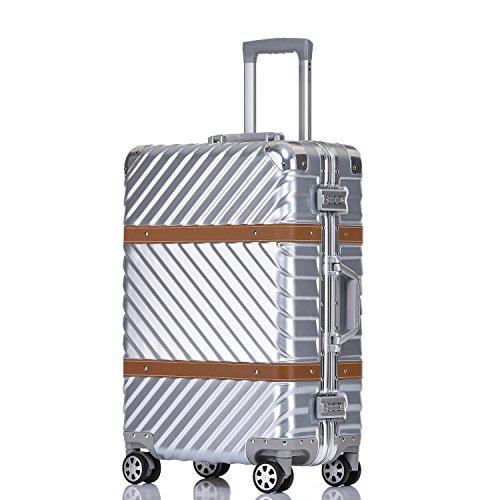 UNITRAVEL Valise Rigide Vintage 54 Centimètre 40 litres avec 4 Roues Argent Serrure TSA