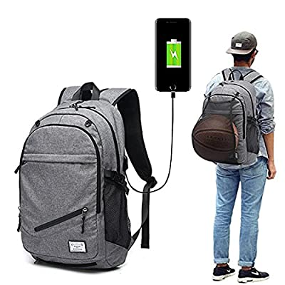 Basketball Backpack,15.6 Inch Laptop Charging backpack with Basketball Net USB Charging Port (Grey) - hiking-backpacks