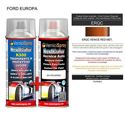 Kit Vernice Auto Spray ERQC VENICE RED MET. e Trasparente Lucido Spray - kit ritocco vernice metallizzata 400+400 ml di VerniciSpray