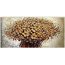 Decdeal - Flores, Cuadro Pintura al Óleo de Pared, Hecha a Mano, 60x120cm (Sin Bastidor)