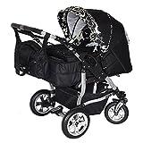 Adbor Zwillingskinderwagen Duo mit Babyschale in 50 Farben Nr.26 schwarz / flower