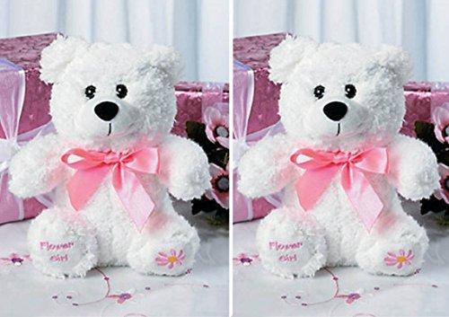 TWO (2) FLOWER GIRL Teddy Bears Plush Gift Wedding Party Present White Pink by FX (Bear Flower Teddy Girl)