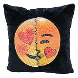 "Mermaid Sequin Pillowcase,SNUG STAR Reversible Emoji Cushion Cover Changeable Face Pillow Cases DIY Decorative Pillowcase for Sofa Home Decor 16 X 16"" (Lewd and kiss)"