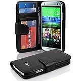 """Cadorabo - Book Style Hülle für HTC ONE """"MINI"""" (2.Gen. M8) - Case Cover Schutzhülle Etui mit 3 Kartenfächern in OXID-SCHWARZ"""