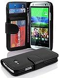 Cadorabo Hülle für HTC One M8 Mini (2.Gen.) Hülle in Handyhülle mit 3 Kartenfächern Case Cover Schutzhülle Etui Tasche Book Klapp Style Oxid Schwarz