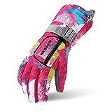 VERTAST Kinder Damen Herren Skihandschuhe Winddichte Wasserdichte Winter warme Handschuhe Fahrradhandschuhe, Rosen Graffiti, L
