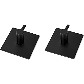 2 Pcs YingQ 304 Stainless Steel Coat Hanger Black Towel Hook Rack Rail 3M Self Adhesive Hooks Square for Kitchen Bathroom Lavatory Closets