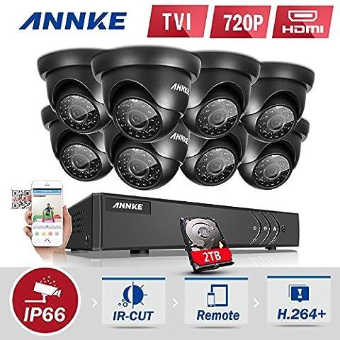 ANNKE 8CH HD-TVI H.264 1080P DVR Système de vidéosurveillance avec 8x 1.0MP Intérieur/Extérieur Weatherproof Bullet Caméras, Lecture intelligente, E-Cloud Service, IR Vision Nocturne LEDs avec Disque Dur de 1TB