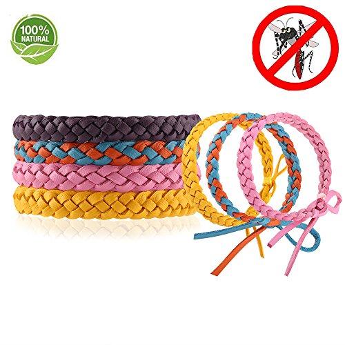 Daaseefee Mückenschutz-Armband, 12 Stück, stilvolles Lederband, Langer Schutz gegen Mücken und Insekten, für Kinder, Babys, Erwachsene, Männer und Frauen - DEET-frei, 4 Stück