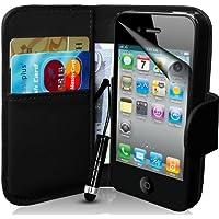 Generic Buch-Stil Imitat Ledertasche mit Eingabestift, Displayschutzfolie, Reinigungstuch für Apple iPhone 4/4S  schwarz