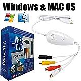 Lvozize VHS VCR zu Digital-DVD-Konverter für Windows 10 8 7, USB 2.0 Audio-/Video-Aufnahmegerät, Übertragung von VCR TV Hi8 Game S Video auf DVD-Weiß (schwarz) weiß weiß