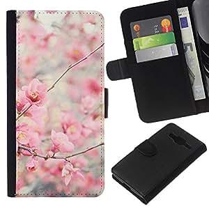 WINCASE Immagine Pelle Raccoglitore Carta Custodia Cover Guscio Case Protezione Per Samsung Galaxy Core Prime - fiore fiori di ciliegio melo