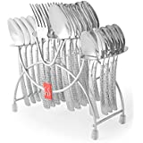 FNS International`s Madrid 24 Pcs Cutlery Set Of Dinner Spoons, Forks, Baby Spoon, Tea Spoons And A Cutlery Stand