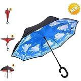aigumi innovador paraguas a prueba de viento Reverse plegable doble capa Sol Bloque Medio Ambiente bumbershoot, azul celeste