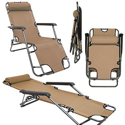 AMANKA Campingstuhl Liegestuhl Freizeitliege Sonnenliege Strandliege Campingliege Klappliege Liege 153cm Beige