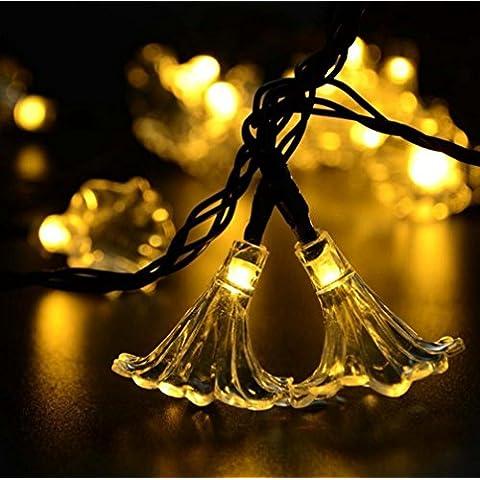 MJEL LED luce di Natale solare String luci Decorative Lampada da esterno giardino , warm white - Camera Pull String