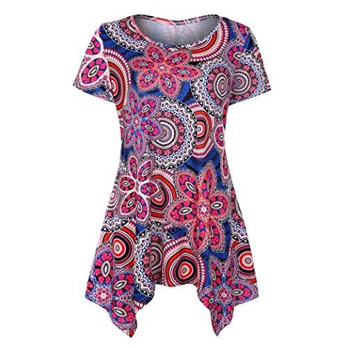 TUDUZ Sommer Damen Eegant Tops Kurzarm Swing Boho Retro Tunika Blumen Flare Tee Bluse Shirt (Lila-A, S) (Bluse Spitze Flare)