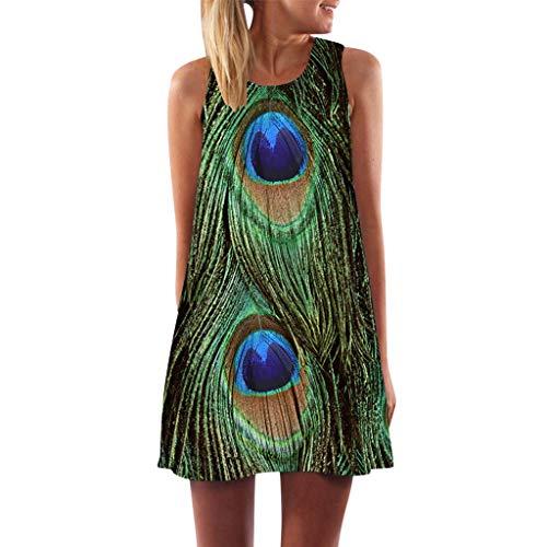 MAYOGO Sommerkleider Damen Casual Ärmellos T-Shirt Kleid Kurzen Blumen Bedrucktes Strandkleider mit Taschen - Audrey Tasche