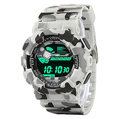Addic Multicolor Dial Army White Strap Digital Sports Watch for Men's & Boys.