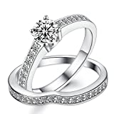 Sreema London 925 Sterling Silver Pave Solitaire Women's Wedding Engagement Promise Ring Set Box Included (51 (16.2))