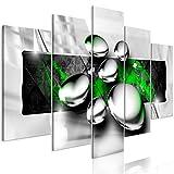 decomonkey | Bilder Abstrakt grün 100x50 cm | 5 Teilig | Leinwandbilder | Bild auf Leinwand | Vlies | Wandbild | Kunstdruck | Wanddeko | Wand | Wohnzimmer | Wanddekoration | Deko | Modern Kugel grau schwarz