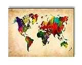 Visario Bild & Kunstdruck 4301 der Deutschen Marke 40 x 30 cm Bilder auf Leinwand Kunstdrucke Weltkarte Wandbild Einteilig