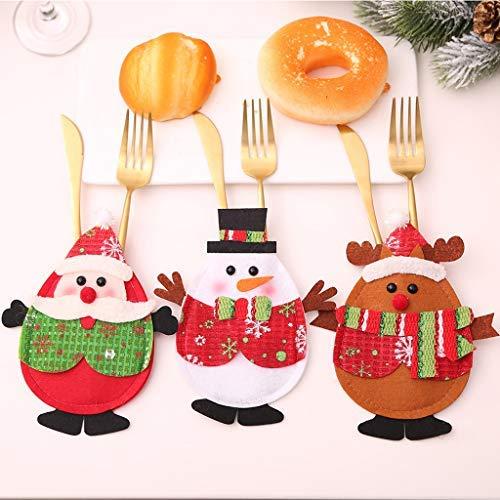 XinqinDing 6 pcs Weihnachten Bestecktaschen Geschirrhalter Besteckhalter Weihnachtsmann Schneemann Tischdeko Besteckbeutel Rentier Party, Neujahr Tisch Baum Dekoration
