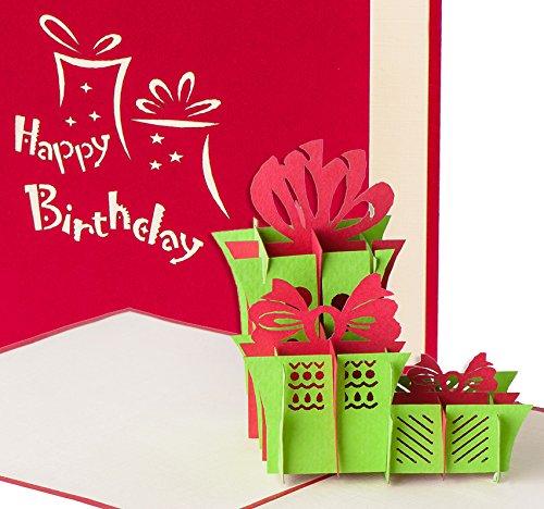 """Geburtstagskarte """"Happy Birthday mit 3 Geschenken"""" 3D Pop up, handgefertigt, Grußkarte, Glückwunsch Karte, Grußkarten, Glückwunschkarten, Geschenk, Geschenkkarte, Karte zum Geburtstag"""
