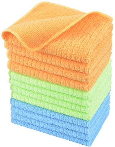Set da 12Panni in Microfibra Strofinaccio Cucina Panni di Pulizia Sono panni multiuso adatti per la pulizia di casa,cucina,bagno e interno di automobile,Spolverino,morbida,senza pelucchi e aloni