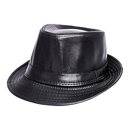 af273da4a7c70 Sombrero de Gangster Mafia sombrero de piel sintética 20 años Fedora Negro  Rocker tocado Biker faschings