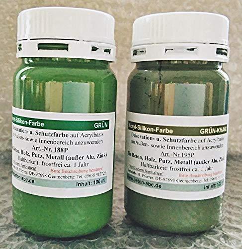 Betonfarben Tester je 100ml Grün und Khaki Grün - Acrylsilikon für innen und außen (EUR 3,50/100 ml)